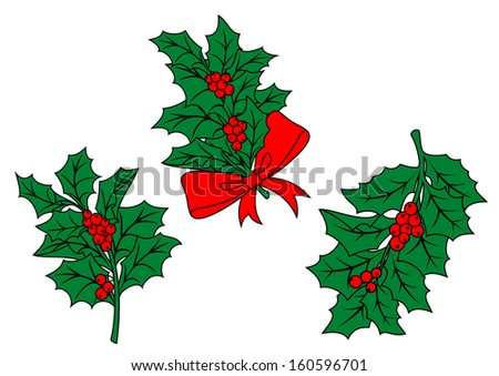 Christmas holly branch with ribbon and red berries for holiday design. Jpeg version also available in gallery - stock vector