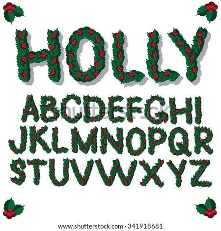 Christmas holly font alphabet. EPS 10 vector royalty free illustration. - stock vector