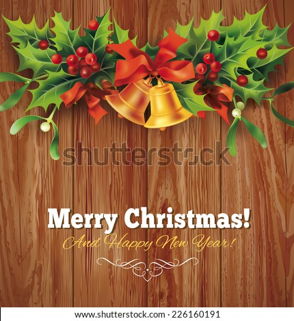 Christmas holly garland on wooden background. Vector eps 10. - stock vector