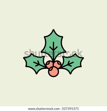 Christmas holly icon. Vector icon. Linear style - stock vector