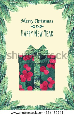 Christmas holly leaves and berries gift box with ribbon and bow. Ribbon with fir branches. Retro vector illustration. Place for your text. Fir branches frame - stock vector