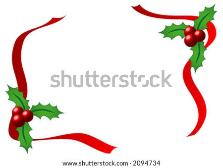 Christmas holly with red ribbons over white background