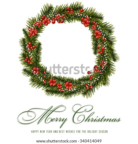Christmas holly wreath - stock vector