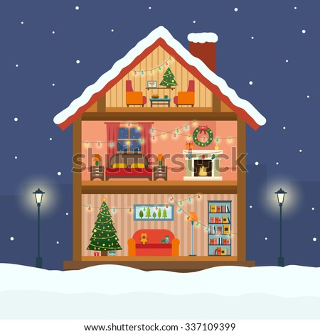 Christmas house in cut with snow. House interior with a furniture, fireplace, christmas tree, gifts, lights, decorations. Flat style vector illustration. - stock vector
