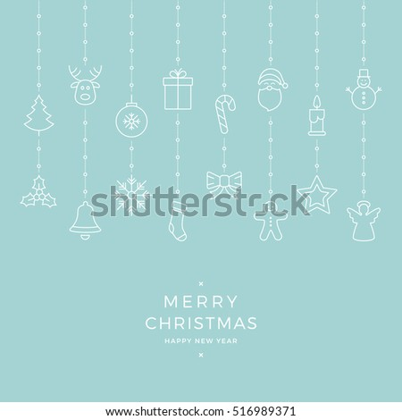 christmas icon elements hanging blue background