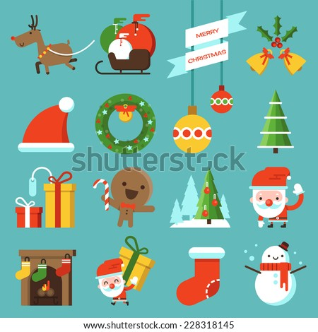 Christmas icon flat design - stock vector