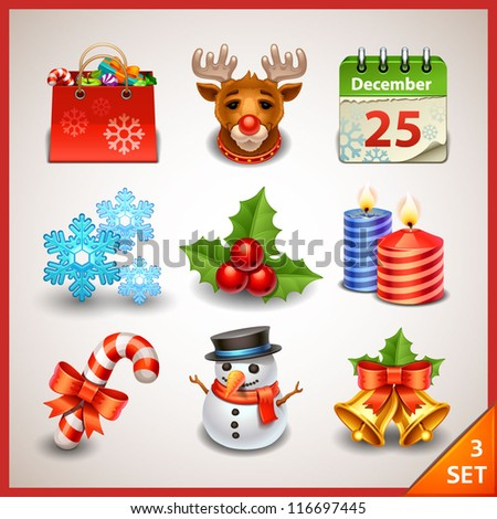 Christmas icon set-3 - stock vector