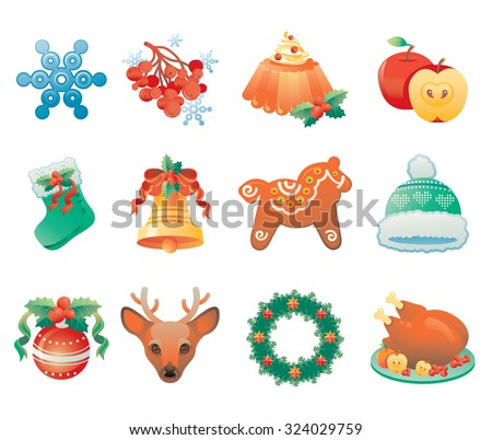 Christmas icon set containing 12 icons with winter holidays symbols. - stock vector