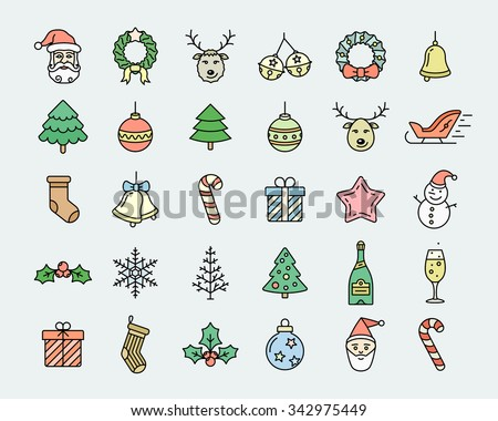 Christmas icon set. Linear colored vector icons dedicated to Merry Christmas and Happy New Year. Linear style - stock vector