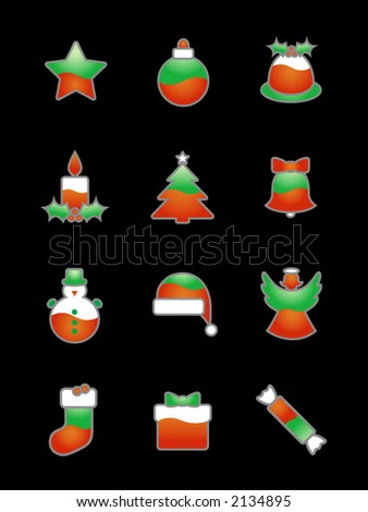 Christmas Icon Set On Black:Three-colored green-red-white Christmas icons suitable for black or dark backgrounds. Large JPG version also available in my portfolio. - stock vector