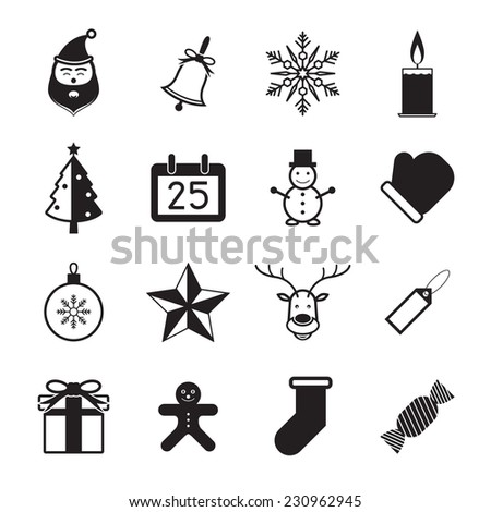 Christmas icon set on white background vector illustration