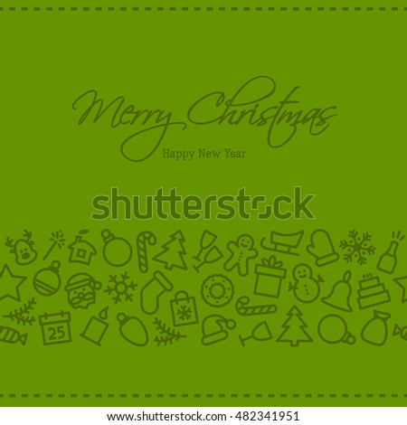 Christmas icon set seamless pattern. Xmas and winter holidays elements background. Flat design vector texture.