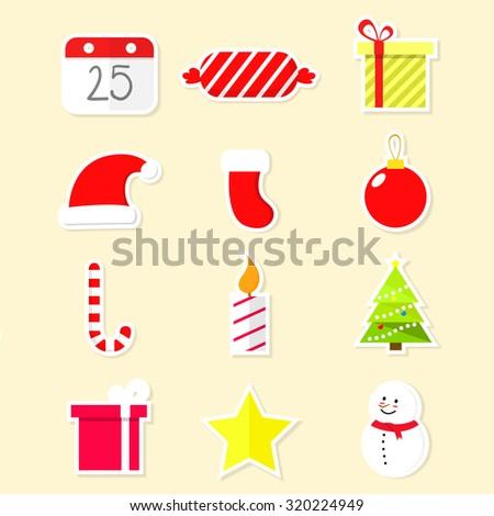 Christmas icon set, sticker - stock vector