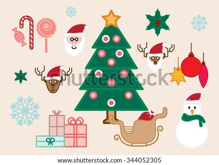 Christmas icon set, vector set - stock vector