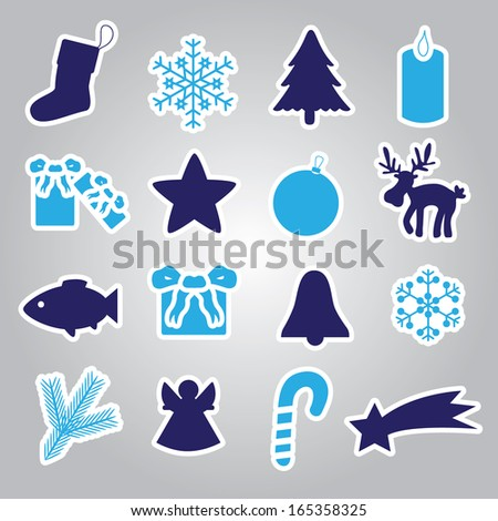 christmas icon stickers collection eps10