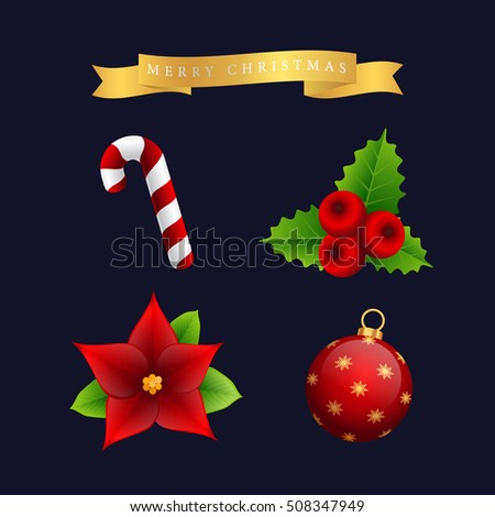 Christmas icon vector set, ornaments, decoration