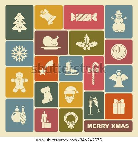 Christmas icons - stock vector