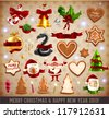 Christmas Icons and objects Set: Santa Claus, Snowman, Candy Cane, Gingerbread cookies, Snake, Mistletoe and Holly, Bell with bows, ribbons, candles and Xmas balls. Vector illustrations collection. - stock vector