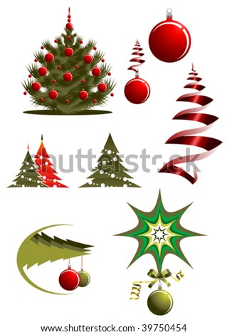 Christmas icons and symbols for design - abstract emblem. Jpeg version also available - stock vector
