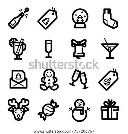 Christmas icons - Champagne, snowman and gifts