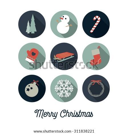 Christmas icons / Christmas card - stock vector