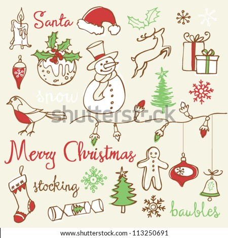 Christmas icons doodles - stock vector