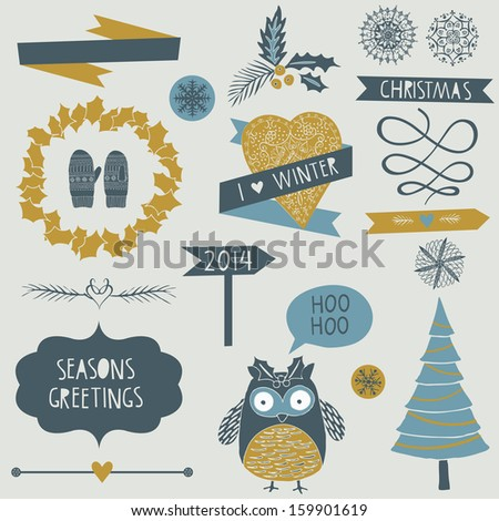 Christmas icons, elements and illustrations - stock vector