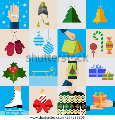 Christmas icons, elements and illustrations. Christmas Greeting Card. - stock vector