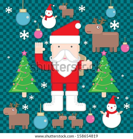 Christmas icons elements and pattern illustrations - stock vector