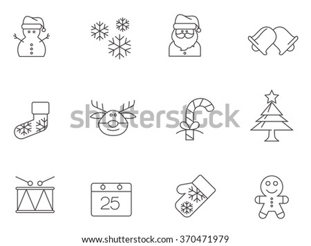 Christmas icons in thin outlines. - stock vector