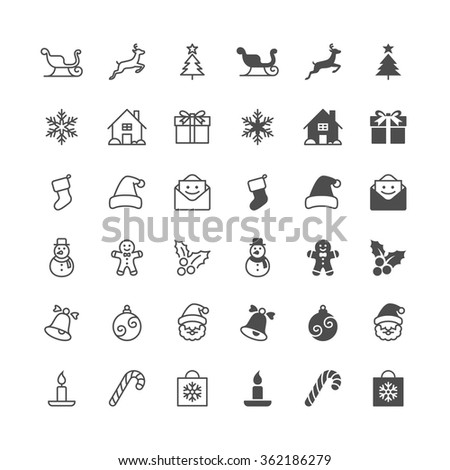 Christmas icons, included normal and enable state. - stock vector