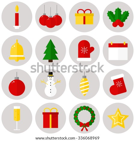Christmas icons. Isolated christmas icons on background. Flat style vector illustration.