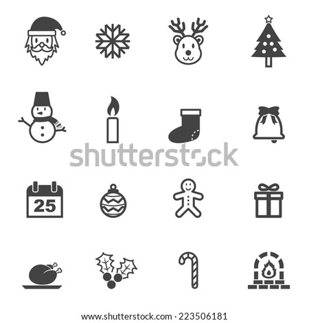 christmas icons, mono vector symbols - stock vector