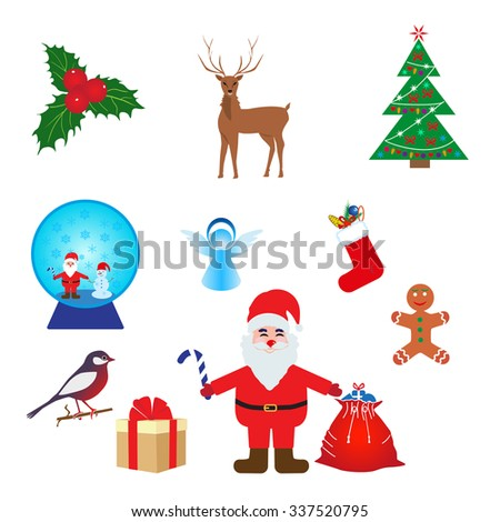 Christmas Icons/Objects Collection. Detailed vector illustration. - stock vector