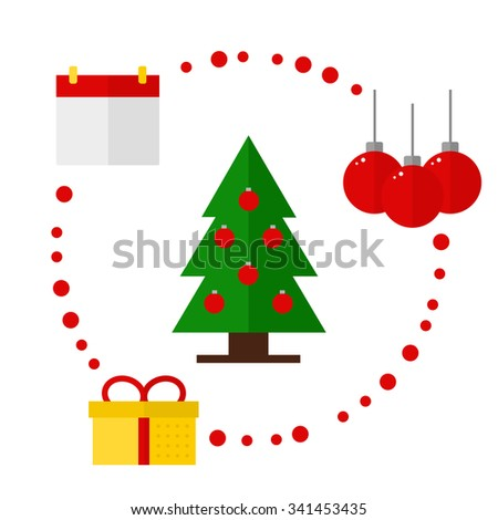 Christmas icons on white background. Christmas tree. Christmas balls. Calendar. Present box. Flat style vector illustration.