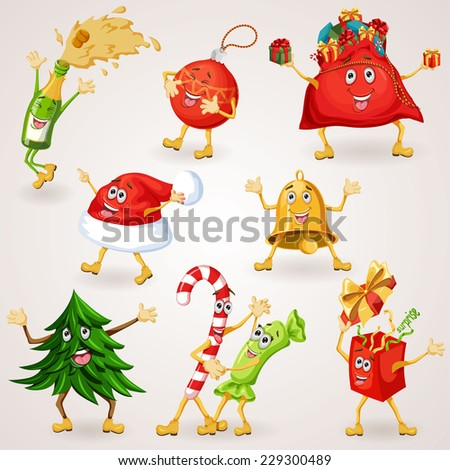 Christmas icons set. Holiday moving characters collection. Xmas items and objects. Vector illustration - stock vector