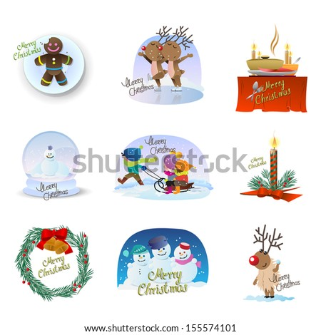 Christmas Icons Set - Isolated On White Background - Vector Illustration, Graphic Design Editable For Your Design. - stock vector