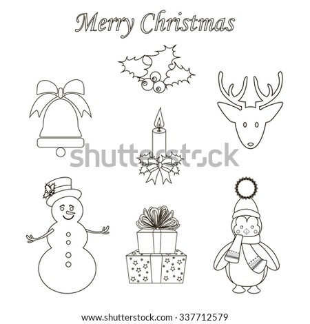 Christmas Icons Set on the white background. Vector illustration.