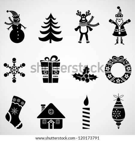 Christmas icons set.Vector - stock vector