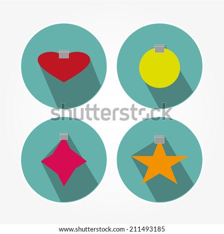 Christmas icons set with objects typical of the party  - stock vector
