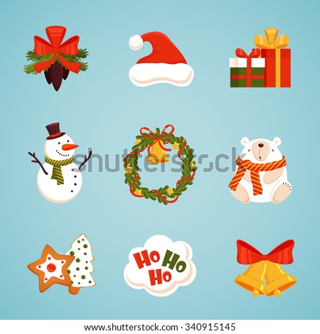 Christmas icons set with snowman, wreath, fir cones, bear, bells, gingerbread, gifts, teddy-bear, bows and other objects. Vector collection for your christmas and New Year design.