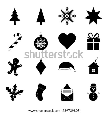 Christmas icons, vector illustration
