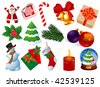 Christmas icons vector set. - stock vector