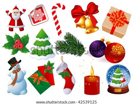 Christmas icons vector set. - stock vector