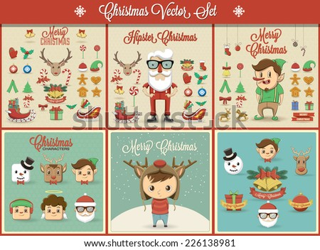 Christmas illustration and element set. - stock vector