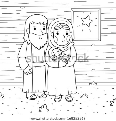Christmas illustration. Baby Jesus, Mary and Joseph. - stock vector