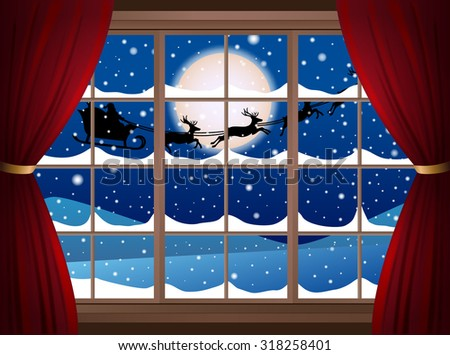 Christmas illustration, look from the window. Vector - stock vector