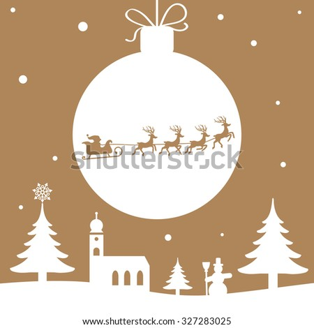 Christmas illustration Santa Claus with Reindeer golden color - stock vector