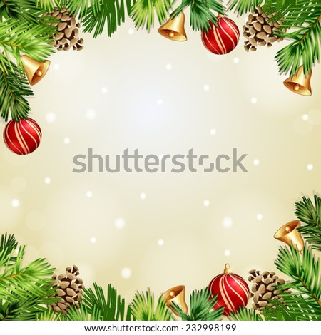 Christmas illustration with Christmas bells and baubles  - stock vector