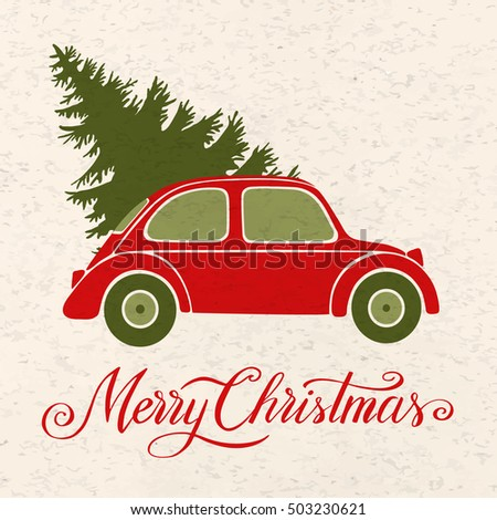 Christmas Illustration With Tree Vintage Car And Snow Merry Hand Written